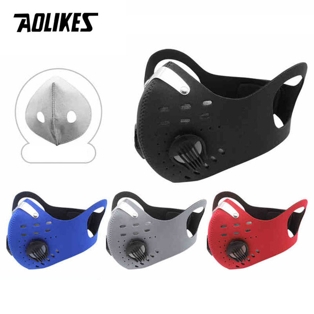 AOLIKES Cycling Mask With Filter Protective Cycling Mask Activated Carbon  PM 2.5 Anti-Pollution Sport Training Bike Facemask