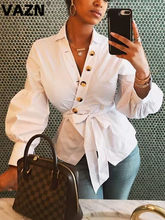 VAZN New White 2020 sexy lady spring Over Belly T shirt full sleeve bow neck button fly T shirt office lady work wear T shirt(China)