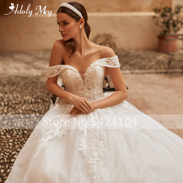 Adoly Mey Gorgeous Appliques Sparkly Tulle A-Line Wedding Dress 2021 Luxury Sweetheart Neck Beading Lace Up Princess Bridal Gown 3