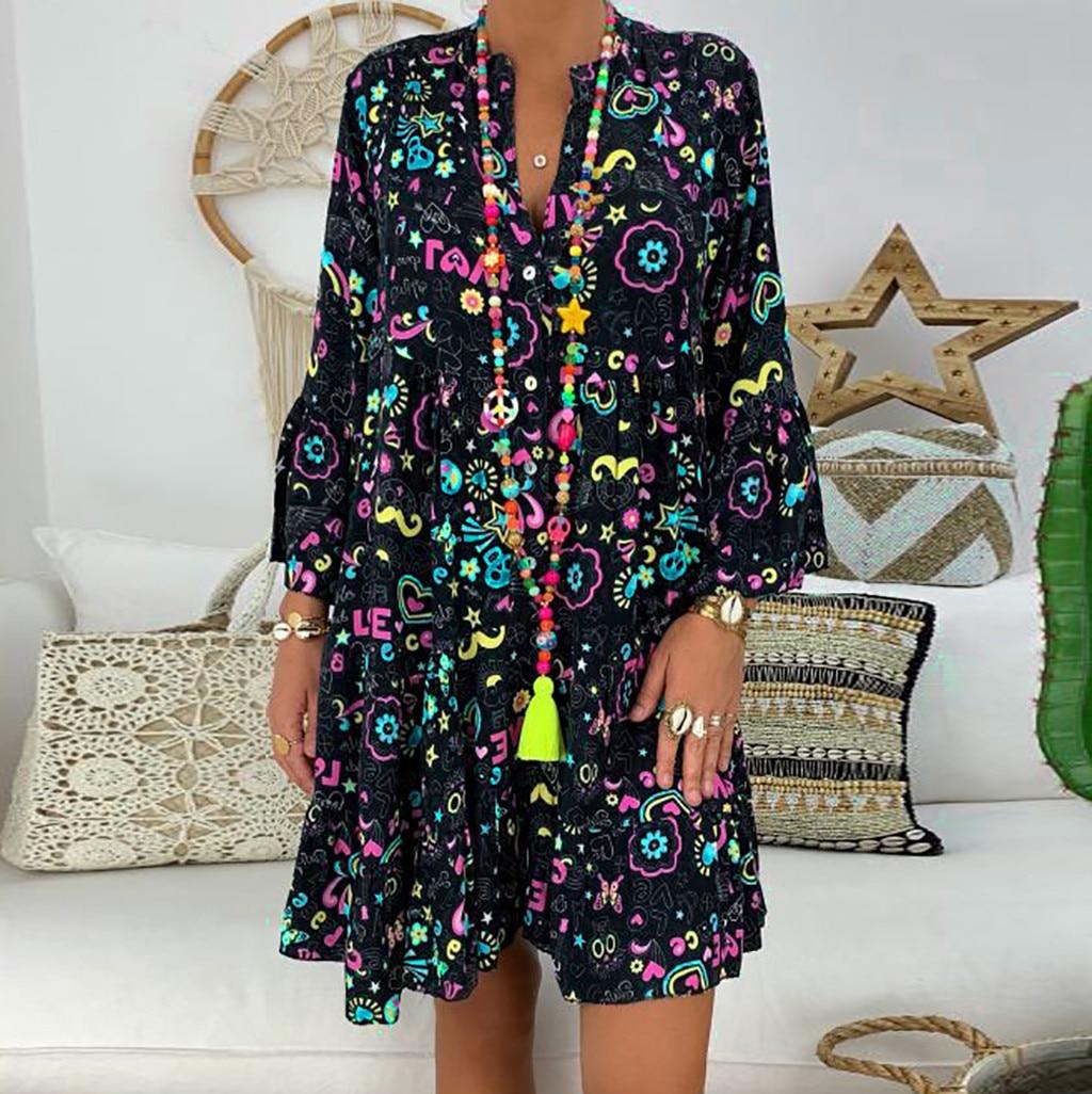 H0c729f1b58d14aa3b5f32413b259ebd83 Spring Autumn Women Dress Plus Size 5XL Loose Print Long Sleeve V-Collar Button Party Dresses Casual Loose Women Dresses 2019