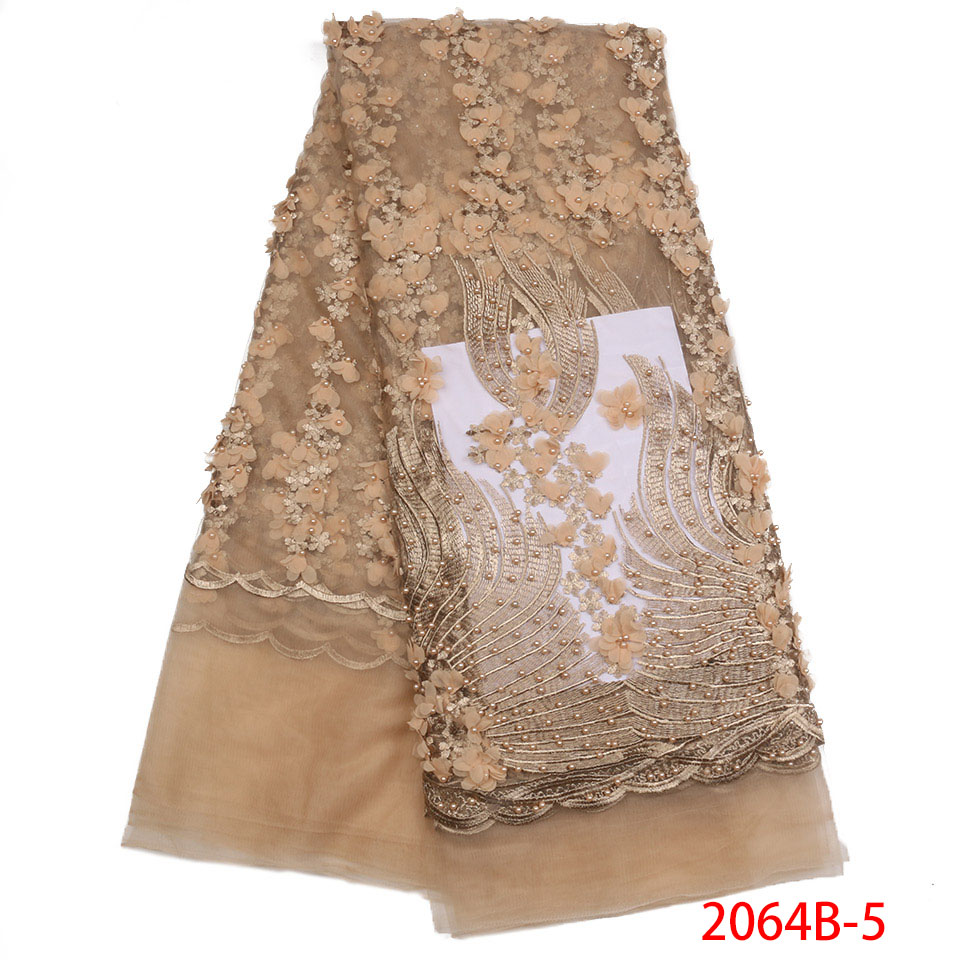 French Tulle Lace Fabric High Quality, 3D Tulle Lace Fabric,Beautiful Applique Embroidered Fabrics Laces With Beads KS2064B-5