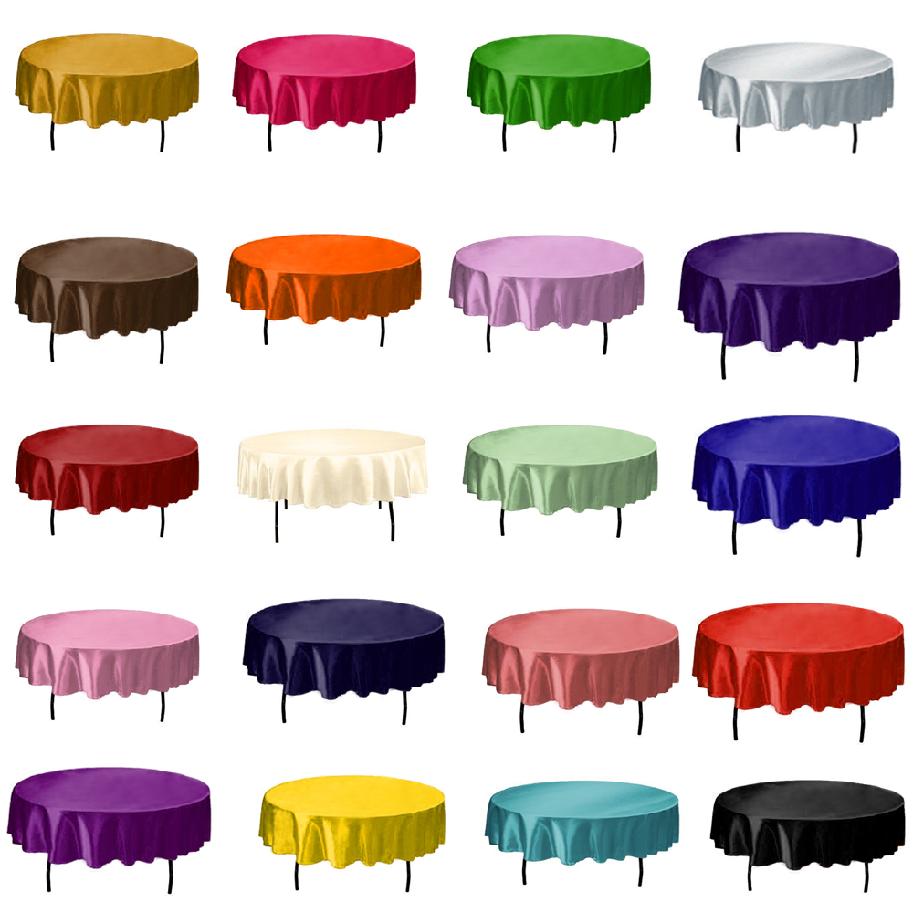 1pcs 145cm Round Satin Tablecloth Table Cover Solid Color Table Cloth For Christmas Birthday Wedding Party Hotel Decoration