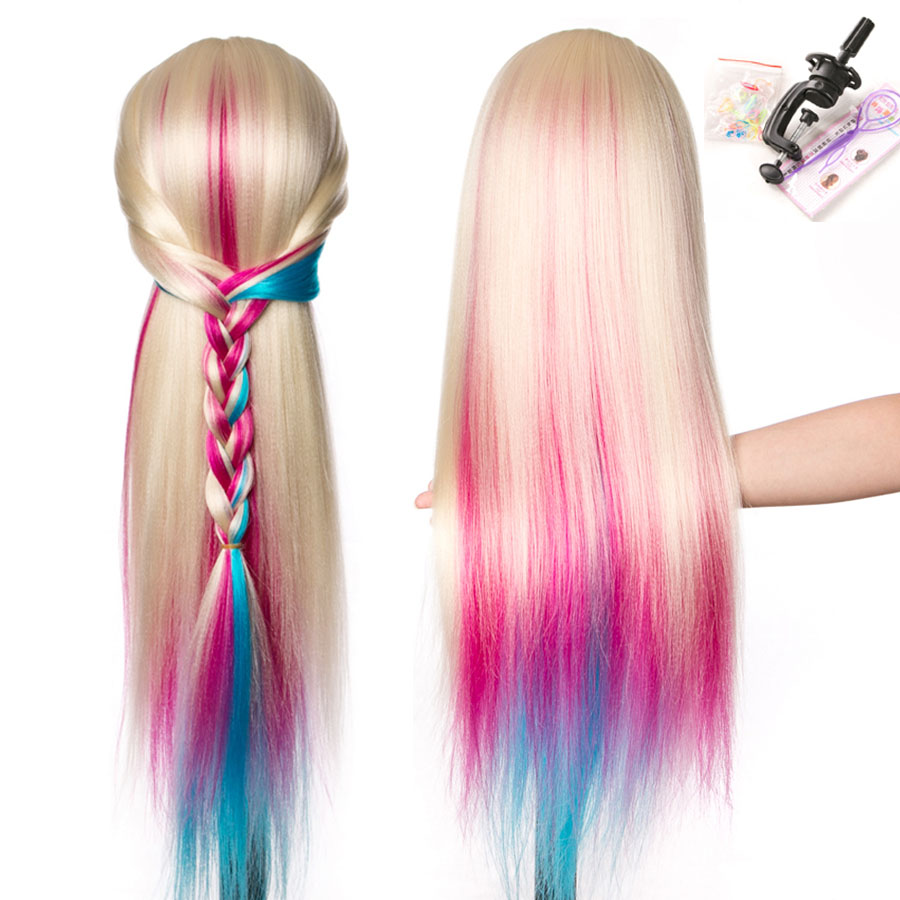 Synthetic Mannequin Head Dolls for Hairdressers Colorful 65 ...