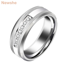 Newshe homens promessa casamento banda carboneto de tungstênio charme anéis para homens 8mm tamanho 9 12 aaa branco redondo zircão jóias trx050