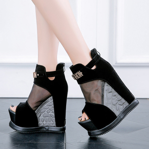 Image 2 - חדש פלוק קרסול מגפי נעלי נשים סנדלים סקסי הולו גבוהה מדרון עם נעליים אחד פה דגים עבה טריזי תחתון קצר מגפיים
