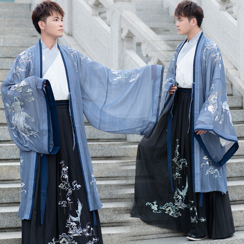 Traditional Dance Costumes Men Embroidery Hanfu Singers Fairy Dress Festival Rave Outfit Folk Stage Performance Clothing DC3158