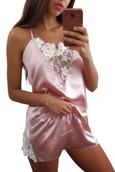 Lace Trim Satin Cami Top Sexy Lingerie Pyjamas Set Women V Neck Sleeveless Strap Pajama Sets Summer Women Sleepwear Set red lace details v neck lingerie sets