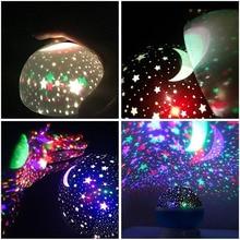 Ночник детский Ночник проектор Звезда Луна Небо вращающийся на батарейках прикроватная лампа для детей детская спальня, детская комната