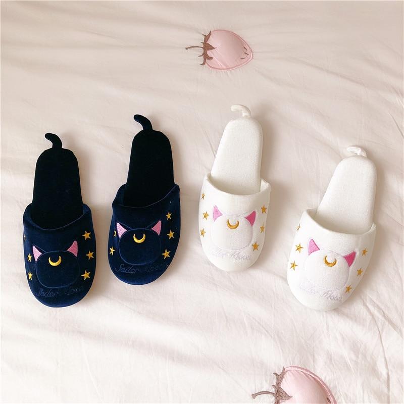 Sailor Moon Tsukino Usagi Luna Cat Bowknot Slippers 5
