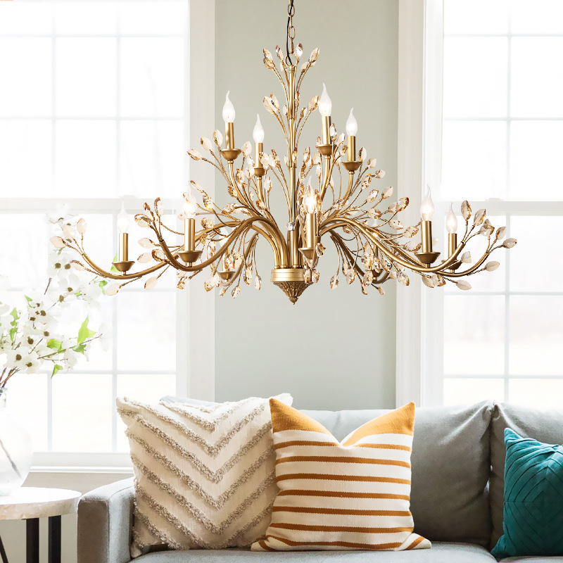 Modern American Luxury Crystal Pendant Lights Living Room Creative Branches Hanging Lamps Dining Room Home Decor Light Fixtures