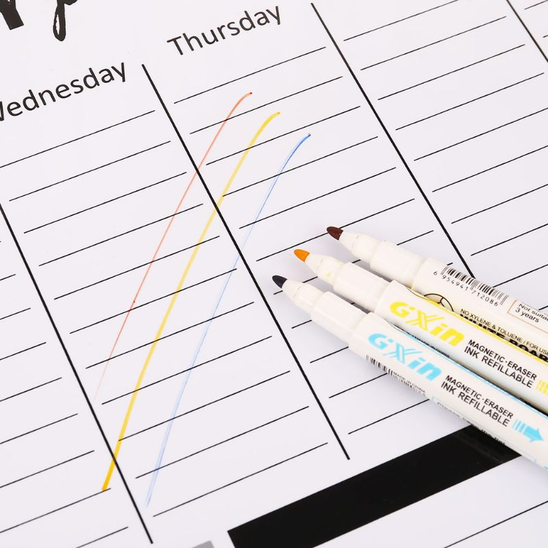 Weekly Planner Soft Magnetic Whiteboard Fridge Magnets Message Remind Memo Pad DXAC