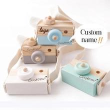 1pcs Custom Made Wooden Baby Toys Fashion Camera Pendant Montessori Toys Custom Name For Children Wooden DIY Presents Baby Block
