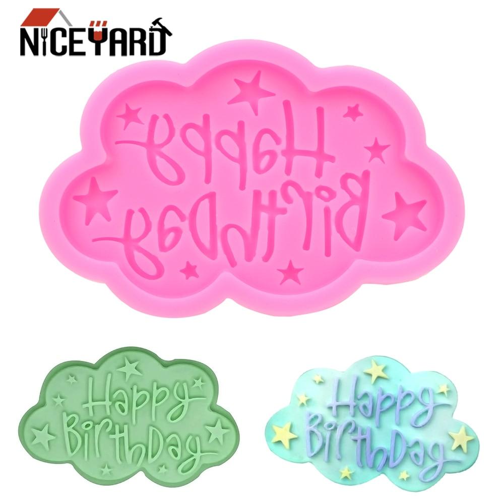 NICEYARD Silicone moule joyeux anniversaire lettres Fondant outils bricolage nuage forme gâteau Dessert décorateurs moules outils de cuisson | AliExpress