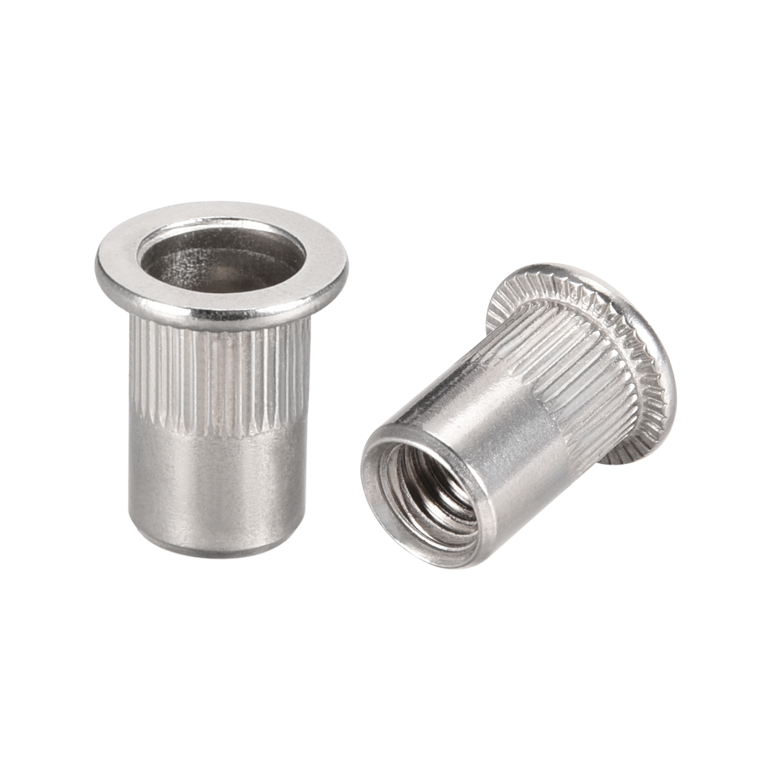 uxcell M4 304 Stainless Steel Rivet Nuts Flat Head Insert Nutsert 20 Pcs