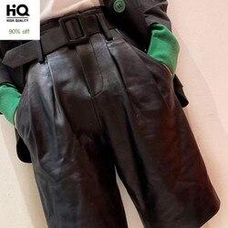 Marke 100% Echt Leder Shorts Frauen Herbst Winter Schaffell Beiläufige Breite Bein Shorts Streetwear Schärpen Schwarz Shorts Plus Größe 4XL