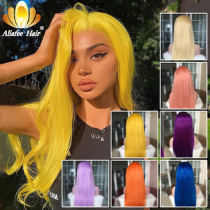 Aliafee 150% Yellow Human Hair Wig Brazilian Remy Straight Lace Front Wig 13x4 Pink Blue Purple Orange Blonde Wigs For Women(China)