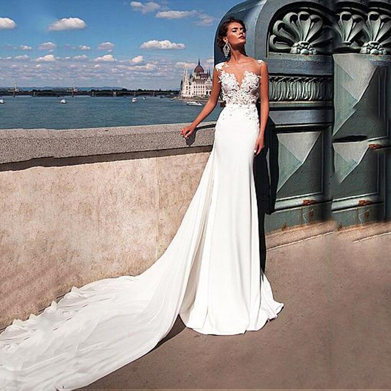 SoDigne Boho Wedding Dresses 2020 Robe De Mariee Lace Top Mermaid Wedding Gown White Chiffon Bride Dress Free Shipping