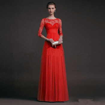 BacklakeGirls 2019 Autumn Elegant Round Neck Long Sleeve A-line Chiffon Evening Dress Green Red Lace Evening Gowns Feest Jurken 2