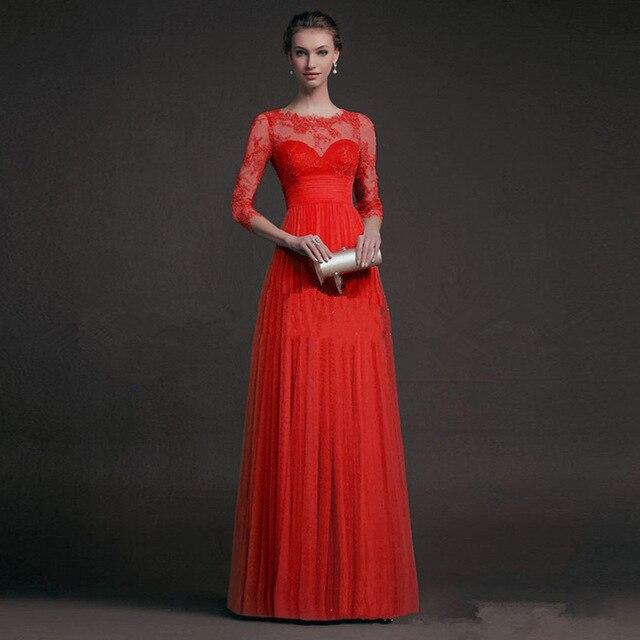 BacklakeGirls 2019 Autumn Elegant Round Neck Long Sleeve A-line Chiffon Evening Dress Green Red Lace Evening Gowns Feest Jurken 2