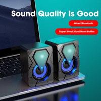 Caja de sonido para PC, altavoces para ordenador portátil, Subwoofer 4D, Sonido Envolvente, altavoz de escritorio, barra de sonido LED, caja de cine
