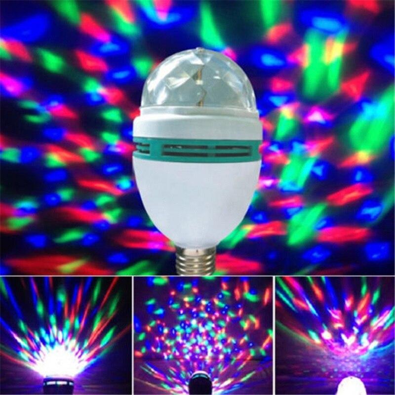 Mini E27 3W coloré Auto rotatif RGB LED ampoule effet de lumière de scène lampe de fête Disco cristal boule magique Club DJ lumières AC 85-265V