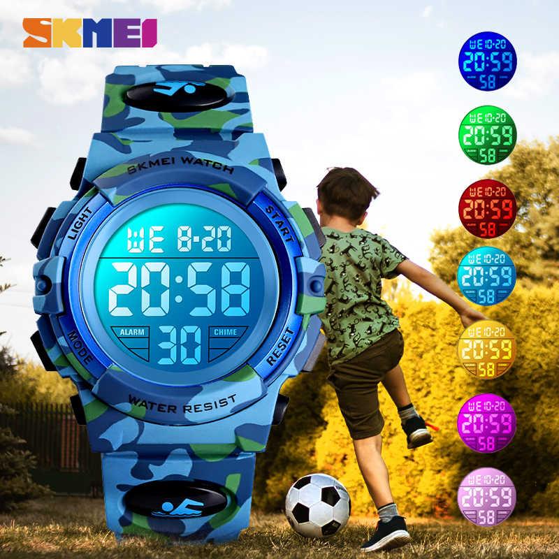 Relojes deportivos militares SKMEI para niños, reloj de pulsera resistente al agua electrónico de 50 M, reloj cronómetro para niños, reloj Digital para niños y niñas