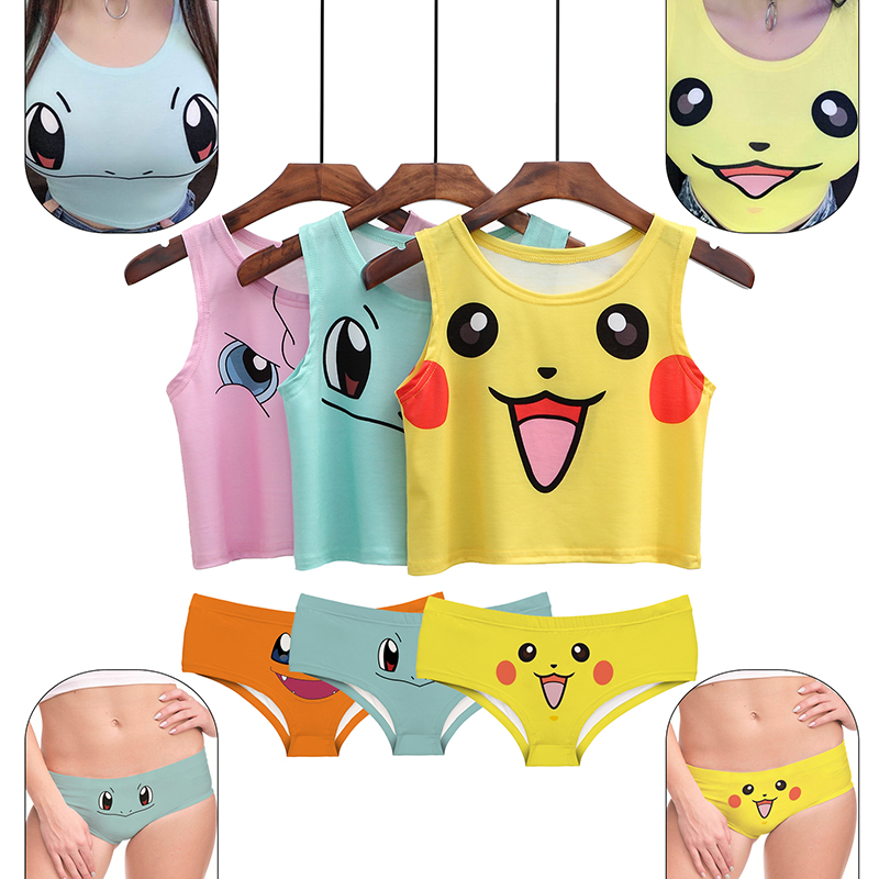 Sexy Girls Cosplay Costume Pikachu Underpants Crop Tops Shirt Print Tank Tops Colorful Sleeveless Tee Vest Underwear Set