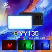 DigitalFoto YY135 RGB LED 2500 8500K مقشر سبائك RGB فيديو LED مصباح لوح بنيت بطارية ل تسجيل الفيديو DSLR يوتيوب لايف