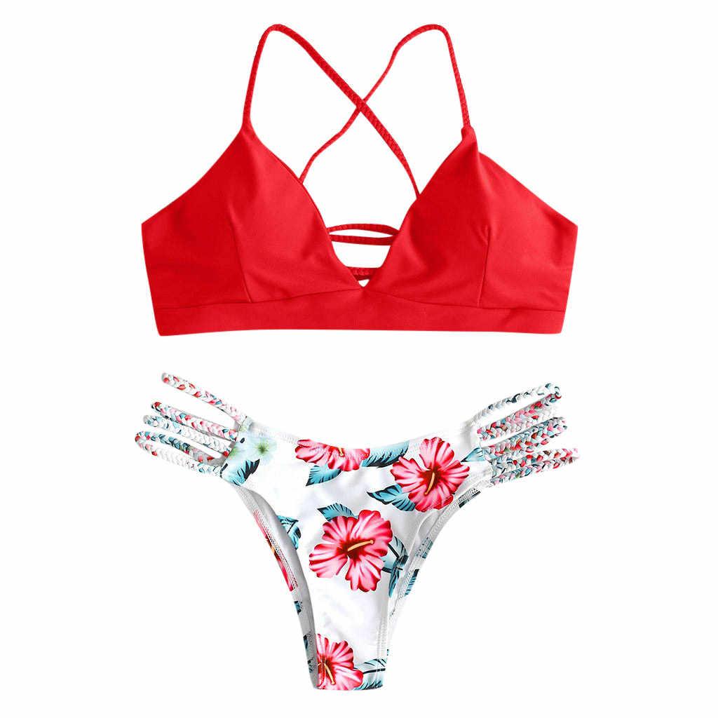 2 ชิ้นชุดว่ายน้ำเซ็กซี่บิกินี่ตัดดอกไม้ Pushups ชุดว่ายน้ำ Beachwear หญิงชุดว่ายน้ำ 2020 mujer #4