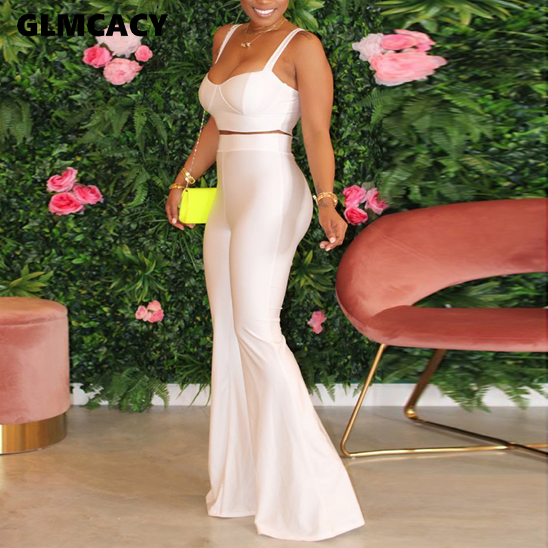 4 Colors Women Two Piece Matching Sets Spaghetti Strap Top &  High Waist Bodycon Bell Pants Casual Plus Size Suits