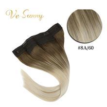 VeSunny, одна штука, невидимый ореол, накладные волосы, настоящие человеческие волосы, флип-провод, с 2 клипсами на балаяге, Омбре, коричневый, блонд,#8a/60