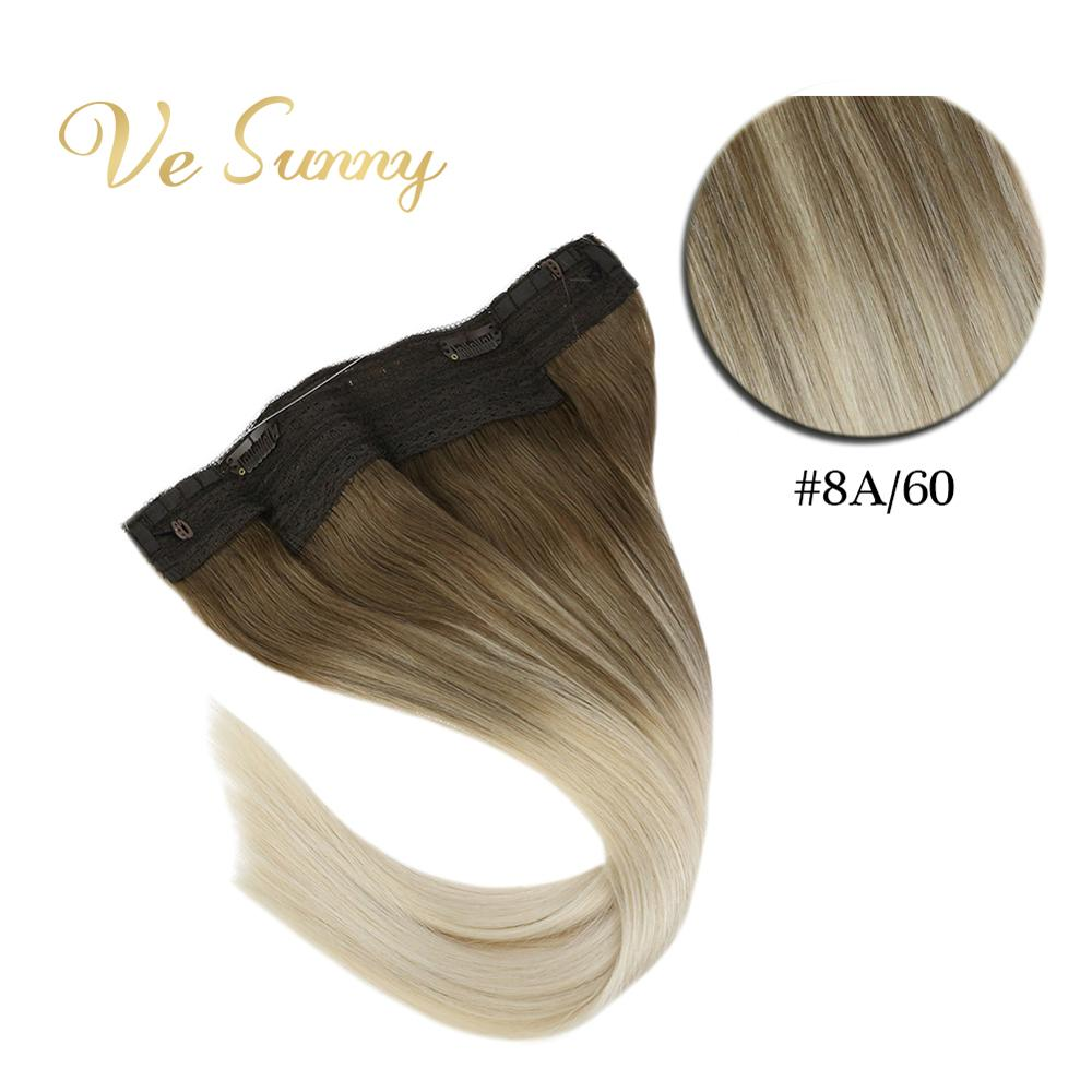 VeSunny One Piece Invisible Halo Hair Extensions Real Human Hair Flip Wire With 2 Clips On Balayage Ombre Brown To Blonde #8a/60