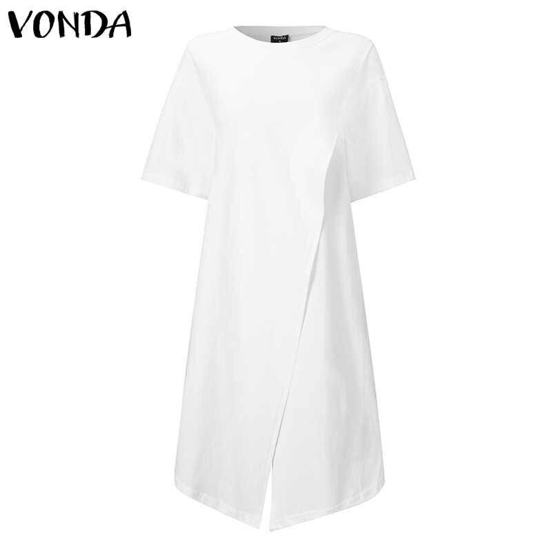 Białe topy kobiety wygodna bluzka VONDA 2020 lato Sexy krótki rękaw wokół szyi z nieregularnym brzegiem koszule imprezowe czeski Plus rozmiar Blusa