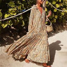 Женское платье с длинным рукавом boho винтажное Цветочное v