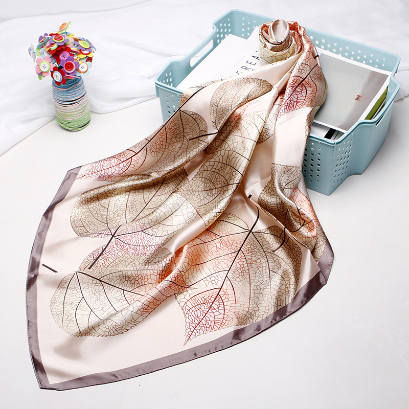Silk Scarves for Women Print <font><b>Foulard</b></font> Satin Square Head Hijab Scarfs For Ladies Luxury Brand Shawls <font><b>90</b></font>*<font><b>90</b></font> Bandana Large Scarf image