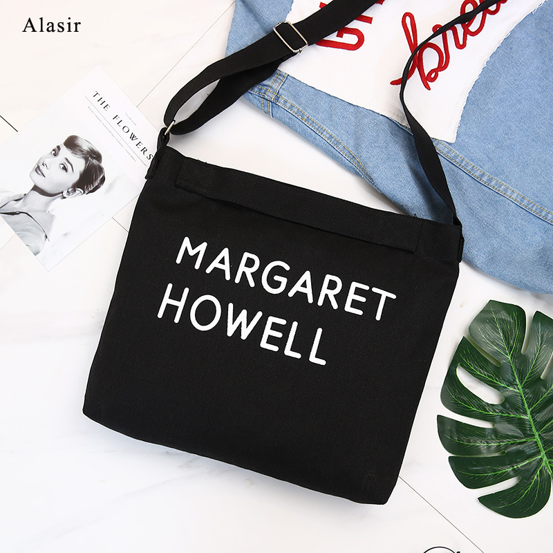 Alasir Letter Bag Tote-Bag Canvas-Bag Black Large Women Sport Casual Simple