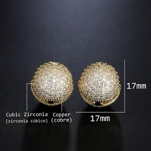 Image 5 - Newranos Gold Round Ball Earrings Cubic Zirconias Hoop Earrings Hollow Geometric Ball Metal Earrings for Women Jewelry ELS001784