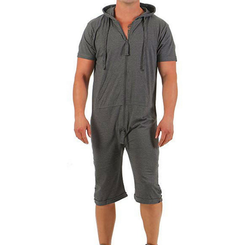 2020 Men's Jumpsuit One-piece Garment Pajama Man Playsuit Summer Zipper Short Sleeve Onesie Male Jumpsuit Streetwear Overalls
