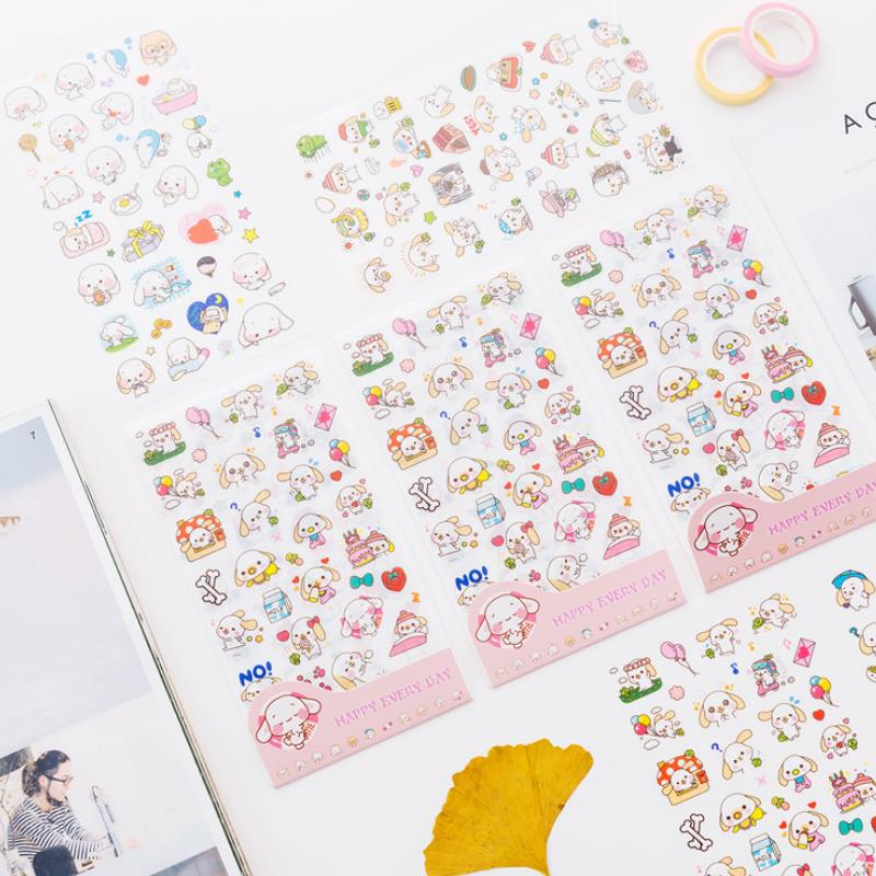 6Sheets/set Cartoon Big Ears Cinnamoroll Dog Stickers Diary Sticker Scrapbook Decoration Stickers Classic Toys Kids Gift