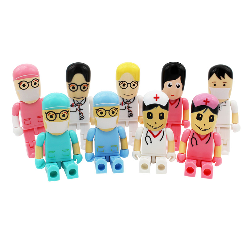 BiNFUL Mini Doctors Usb Flash Drive Real Capacity Doctor Nurse Shape 8G/16G/32G/64G Memory Stick