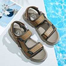 CAMEL Summer Fashion Casual Shoes Men Leather Sandals Elastic Lightweight Beach