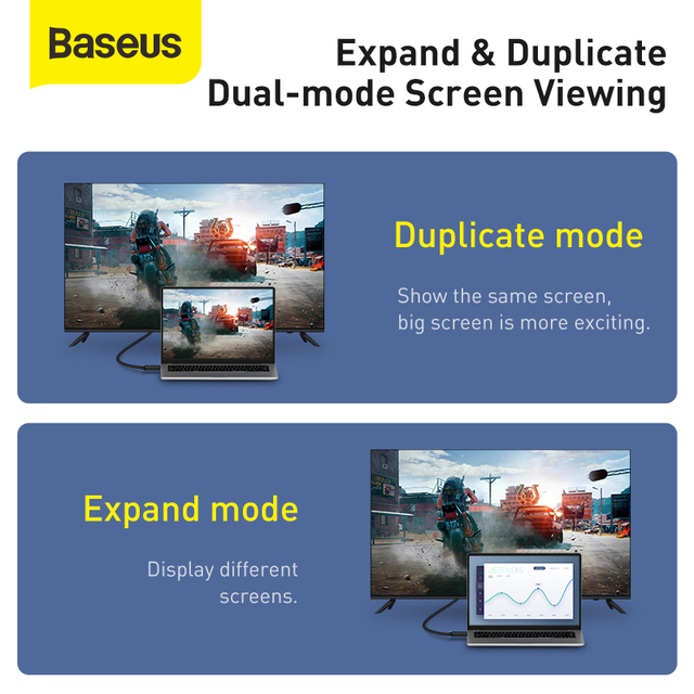Baseus HDMI Cable 4K to HDMI 2.0 Video Cable For TV Monitor Digital Splitter PS4 Switch Box Projector Displayport HDMI Wire Cord