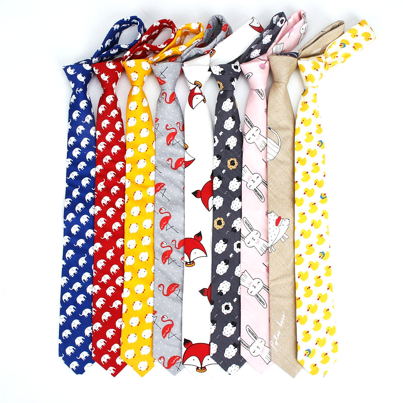 New Cute Cartoon Printed Fish Animals 6cm Neck Tie 100% Cotton Women Men Dress Wedding Butterfly Gift Necktie Cravat Accessory