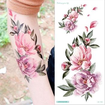 Wodoodporna tymczasowa naklejka tatuaż róża kwiaty zostaw Flash tatuaże tatuaże do ciała ramię fałszywy rękaw tatuaż czarne kobiety dziewczyny nadgarstek tanie i dobre opinie LAIFU Jedna jednostka CN (pochodzenie) 21cm*10cm Arm sleeve tattoo Waterproof Once eco-friendly nontoxic Zhejiang China