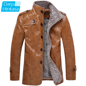 Brand Men Winter Thick Motor Leather Jacket Warm Plus Velvet Fur Collarfashion Pu Leather Jacket Coat Men Plus Size 8XL