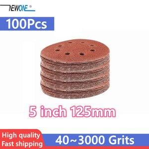 Image 1 - 100pcs 125mm וו & לולאה שוחק חול נייר 5 אינץ אדום מלטש דיסק עם 8 חורים גריסים 40 ~ 3000 זמין