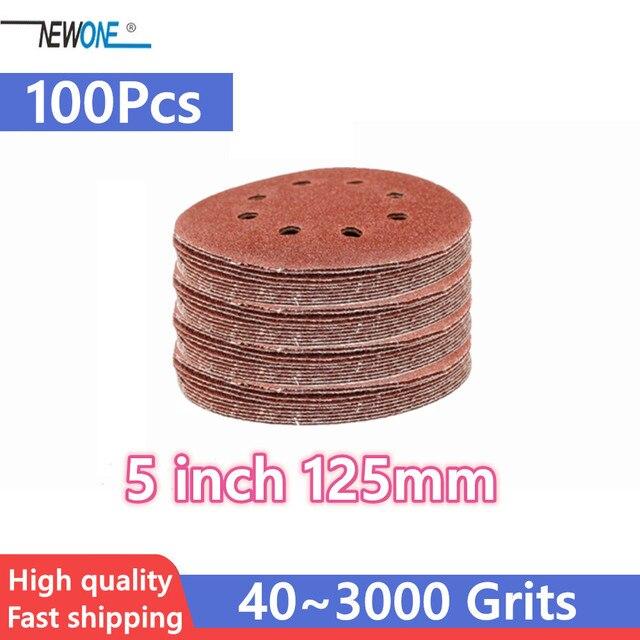 100pcs 125mm וו & לולאה שוחק חול נייר 5 אינץ אדום מלטש דיסק עם 8 חורים גריסים 40 ~ 3000 זמין