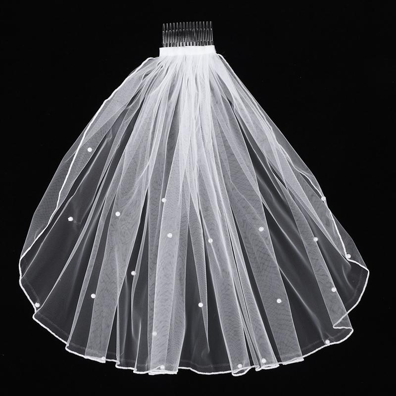 Women Tulle Bridal Veil Pearl Wedding Veil With Hair Comb For Bride Flower Girl Wedding Party Photography