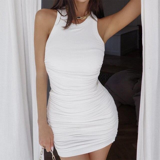 Hirigin Cotton Ruched Drawstring Sexy Dresses Women Sleeveless Elastic Mini Dress Vintage Bodycon Club Wear 2021 Casual Vestidos 4