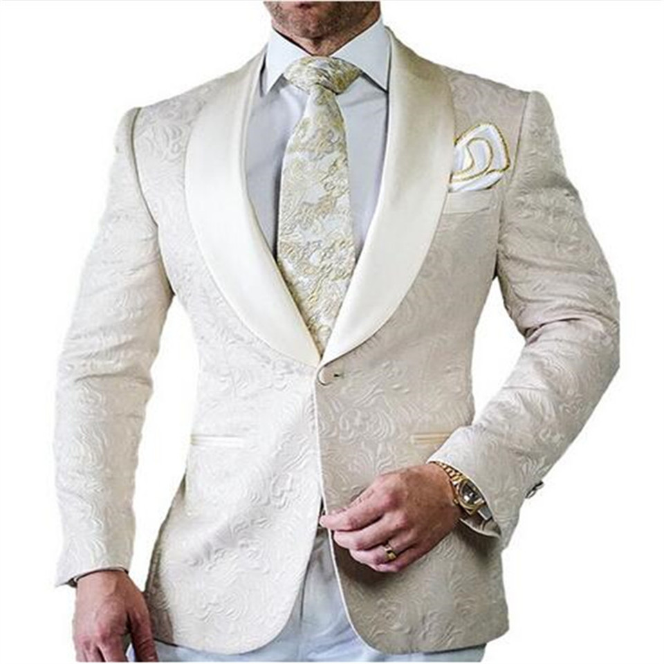 New Men's Suit Smolking Noivo Terno Slim Fit Easculino Evening Suits For Men (Jacket+Pants) Mens Suit White Groom Tuxedos